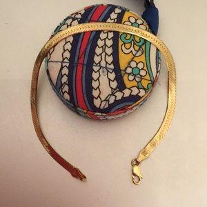 Jewelry - 925/ plated yellow  gold herringbone bracelet